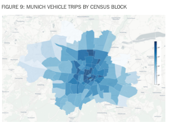 Munich vehicle trips by census block